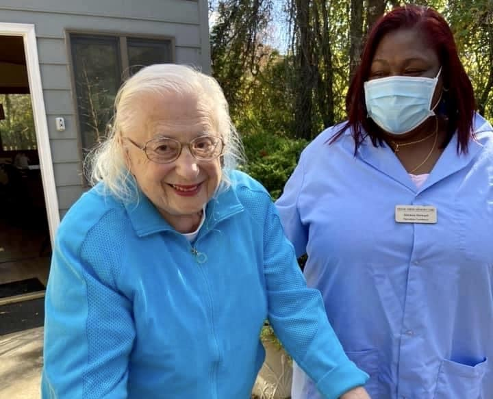 Memory care worker and resident in Rockville, Maryland